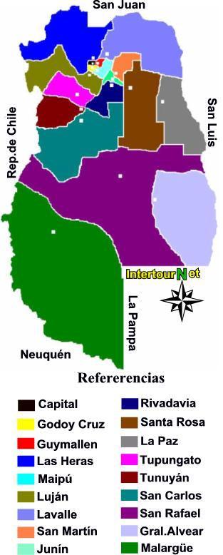 Mendoza Mapa Politico De La Provincia